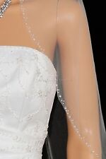 1T White Elbow Length Beaded Edge Bridal Wedding Veil