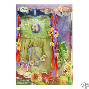 Disney's Tinker Bell Dress Up Fairy Costume Pretend Play Time Free Ship'g NIB