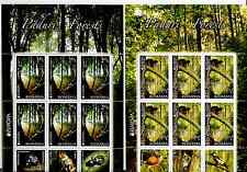 ROMANIA EUROPA 2011 - FOREST- 2 SHEETS OF 6 STAMPS WITH TABS !!!! TYPE I+II