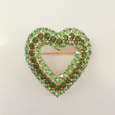 Nw Heart Romantic Valentine Olive Green Crystal Brooch Pendant Charm Pin BR1347A