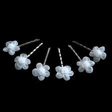 6 épingles pinces plates cheveux mariage mariée fleur blanches satin organza