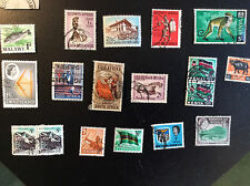 AFRICA;  VARIOUS COUNTRIES; LOT OF 16 VALUES USED- MONKEY, FISH, BUFFALO ETC