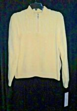 NWT ALFRED DUNNER WOMEN'S PULL OVER YELLOW SWEATER/TOP SIZE PETITE XL SHORT ZIPP