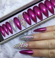 Pink Princess Diamante False Fake Extra Long Stiletto Nails Set