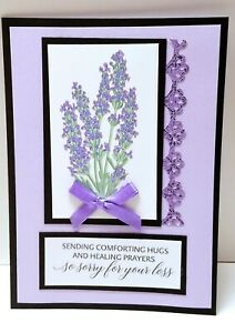 Sympathy Greeting Card - SORRY FOR YOU LOSS Wisteria Flower - Handmade