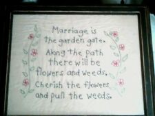 Vintage Hand Stitched Marriage Sampler Saying in photo frame  Crocheted?