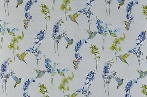 ROMAN BLIND BLACKOUT PRESTIGIOUS FRAGRANCE HUMMING BIRDS WATERFALL BLUE GREEN