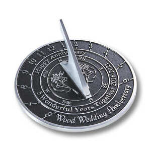 5th Wood 2021 Wedding Wedding Anniversary Sundial Gift by The Metal Foundry