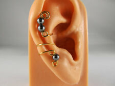Ear Cuff Gold Artistic Wire With Swarovski Pearls Handcrafted in USA