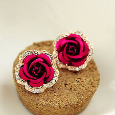 1 Pair Women Crystal Rhinestone Earrings Crystal Ear Stud Rose Flower Jewelry