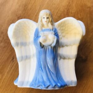 """3 Angels Harp Flute & Scroll Ceramic Candleholder 5.5""""x6"""" Fits 3"""" Wide Candle"""
