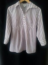 Motherhood Maternity 3/4 Sleeve V-Neck Striped Top - Ties in Back - Size S