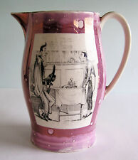 Staffordshire Pink Splash Lustre Pitcher Black Transferware Scenes from Dickens