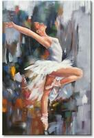 Hand Painted Ballet Dancer Abstract Painting on Canvas Wall Art Framed HomeDecor