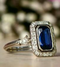 7.00ct Blue Sapphire Emerald Cut 10K White Gold Plated Wedding Engagement Ring