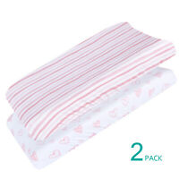 Changing Pad Cover Pink Print 100% Jersey Knit Cotton Stretchy 2 Pack for Girls