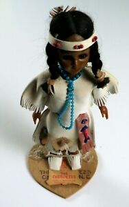 Vintage Cherokee Indian Doll with Baby, Sleepy Eyes and Wood Stand