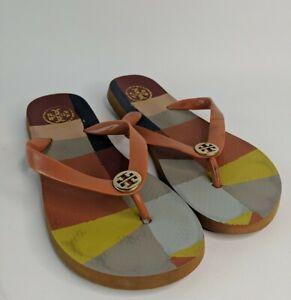 Tory Burch Flip Flops Gold Emblem Multicolor Beach Sandals Thongs - Size 6.5