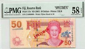 Fiji  $50  ND. 2007  P 113s  Specimen  Series  CA PMG 58 Uncirculated Banknote