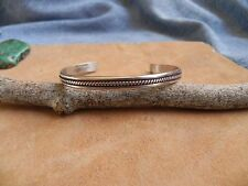 Sterling Silver Cuff Bracelet with center twisted rope design Navajo
