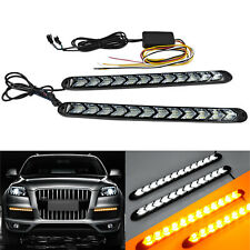 Car LED Amber/White Switchback Flowing Strip Arrow Flasher Turn Signal Light X2