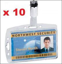 5x DURABLE Security Pass ID Card Fuel Card Holder W Clip Portrait Landscape