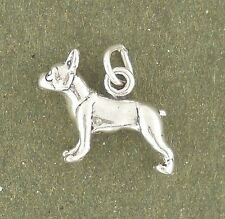 Boston Terrier Dog Charm 925 Sterling Silver Pendant Animal Pet Puppy