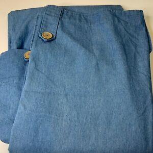 JCPenney home collections curtain panel pair denim blue 100% cotton rod loop