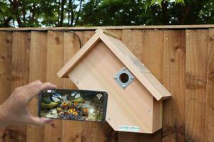 IP Wired Camera Bird Box | Garden Hanging Birds Nest Wooden Side View Smartphone