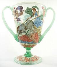 SALVIATI - Venetian Glass Urn - Hand Painted Enamels - Italy - Mid 20th Century