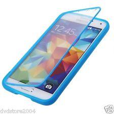 Custodia WALLET Cover AZZURRA FRONTE TRASPARENTE per Samsung Galaxy S5 I9600