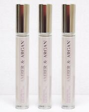 3 Bath & Body Works AMBER & ARGAN Perfume Oil Rollerball Vial With Argan Oil