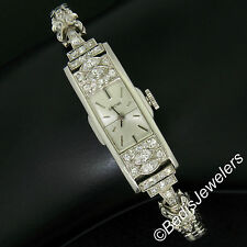Antique Art Deco Platinum Glycine 1.21ctw Diamond Ladies Long Dinner Wrist Watch