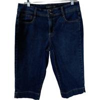 Nine West Womens Jean Shorts Stretch Denim Bottoms Bermuda Skimmer Blue Size 12