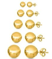 14K Yellow Gold Filled Ball Stud Earrings 3mm 4mm 5mm 6mm 8mm Top Quality