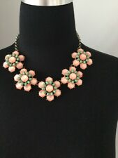 Pretty Big Flower Peach Green Chunky Statement Necklace