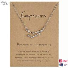 Necklace Capricorn Zodiac Star Sign Constellation Silver Crystal Pendant