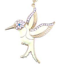 Collana di uccello colibrì in smalto bianco stile Art Déco con cristallo scintil