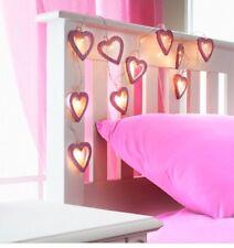 10x Rosa Glitter Cuore novità Stringa Luci LED Bianco Caldo a Batteria