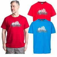 Trespass Router Mens Top Short Sleeve Casual T-Shirt in Red & Blue