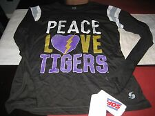 WOMENS SOFFE LSU PEACE LOVE TIGERS LONG SLEEVE T Shirt BLACK MEDIUM M  NWT