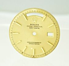 Mens Rolex Champagne 18K Gold Pie Pan DayDate Nonquickset Watch Dial Slow Set
