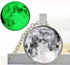 luminous moon Pendant Necklace full Moon Glow In The Dark for women fluorescent