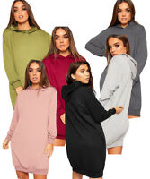 Women's Sweatshirt Top Ladies Jumper Dress Baggy Hooded Plain Pocket Long Sleeve