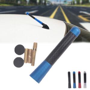 "Universal 3"" Blue Aluminum Alloy Carbon Fiber FM AM Radio Car Antenna Aerial"