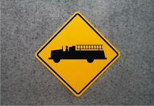 FIRE TRUCK CROSSING SIGN / Aluminum Sreet Sign - Playroom Decor  - Garage