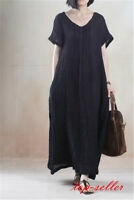 Womens Long Dress Plus Size Maxi Cotton Linen Large Gown Caftan Skirt Coat dress