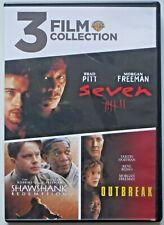 3 Film Morgan Freeman Dvd Collection: Seven, The Shawshank Redemption, Outbreak