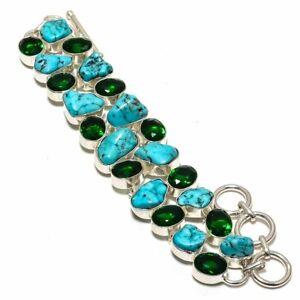 "Tibetan Turquoise- Nuggets & Diopside 925 Sterling Silver Bracelet 7.99"" B-7738"