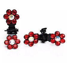 MINI Hair Claw Clip Rhinestone Crystal Hairpin Bridal Wedding Flower RED JAW